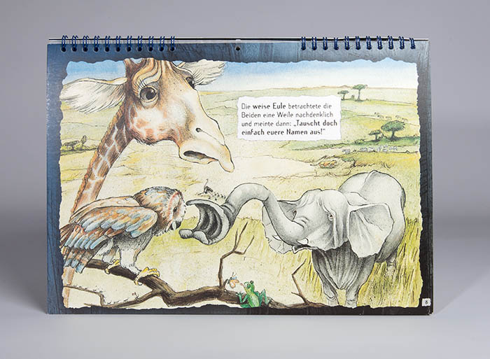 Elefant Giraffe und Eule