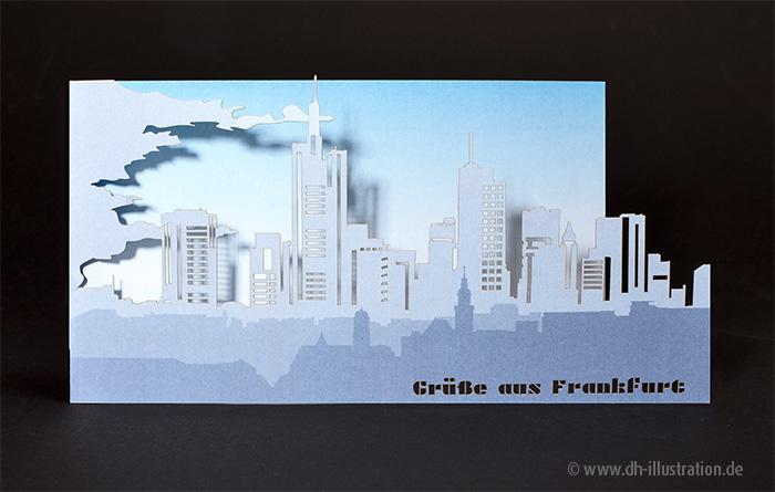 Cutoutkarte Frankfurt Skyline