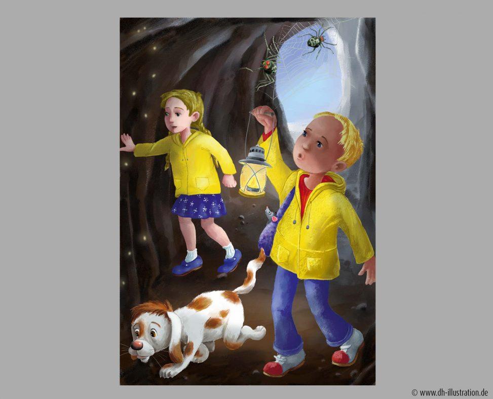 Kinder, Hund in Höhle