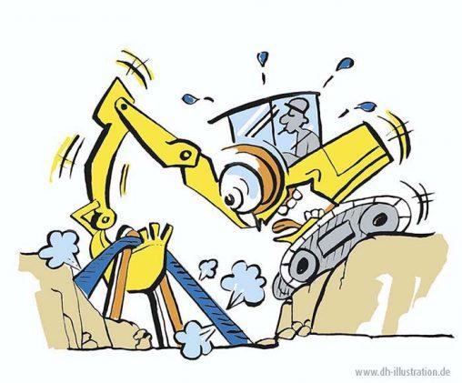 Bagger und Gasleitung