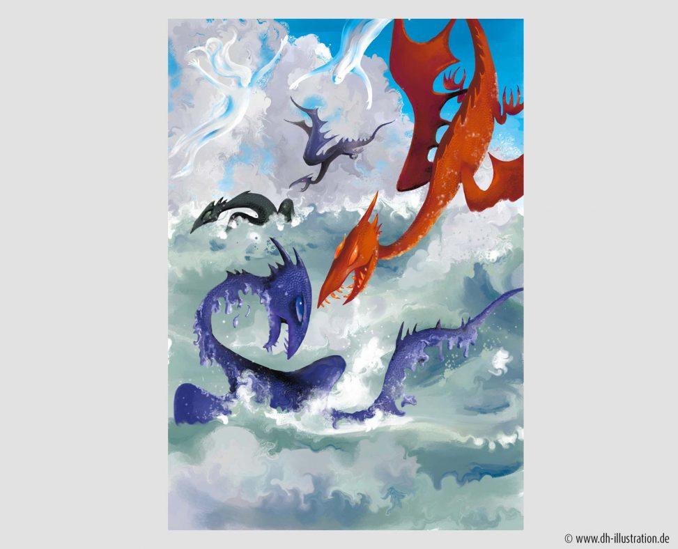 Drachen im See