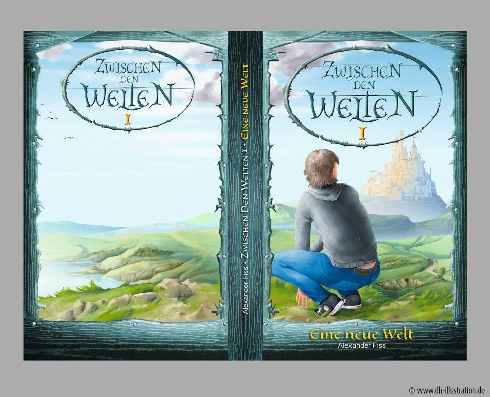 Fantasy Titel Burg und Junge