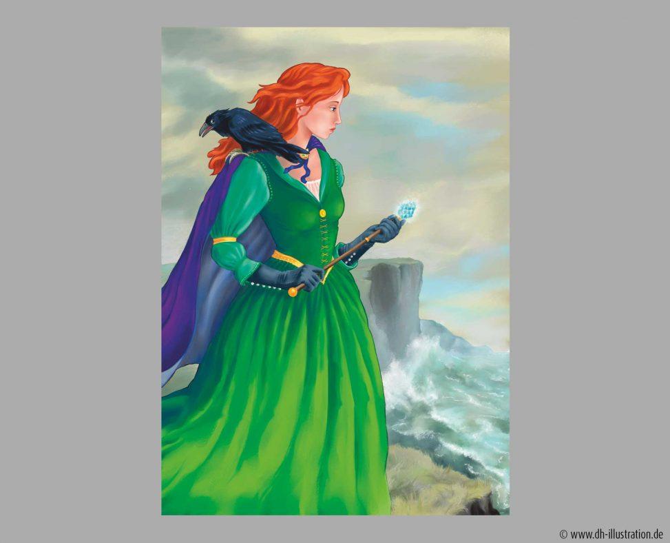 Hexe und Rabe auf Klippe