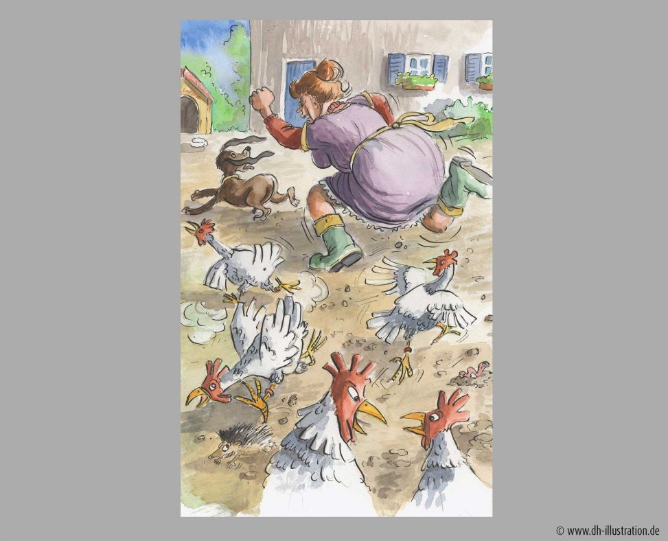 Frau jagt huehner