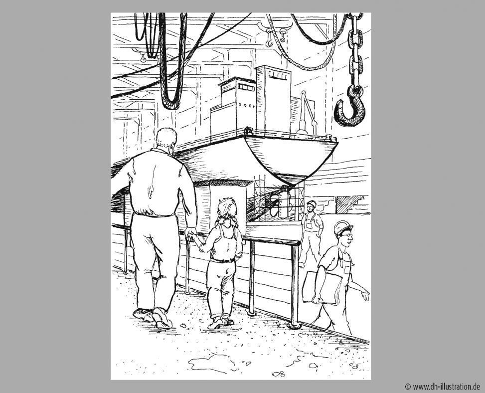 Papa und Kind in Werft