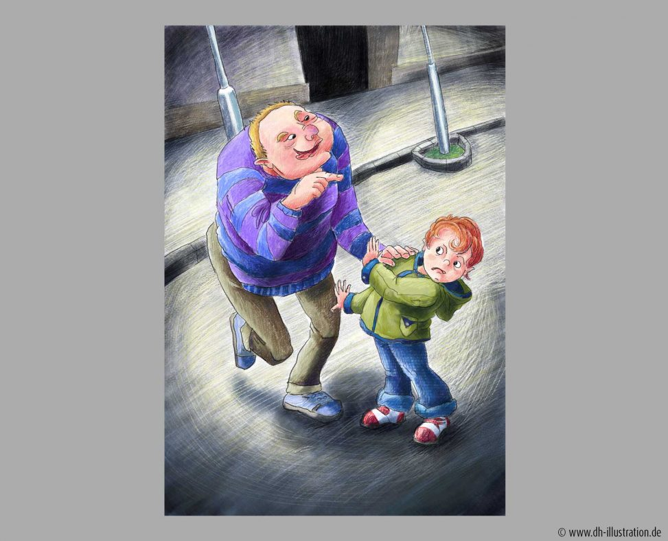 Kind und Betrunkener unter Straßenlaterne