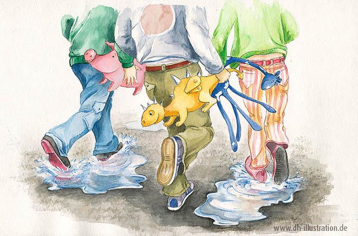 Kinder tragen Stofftiere