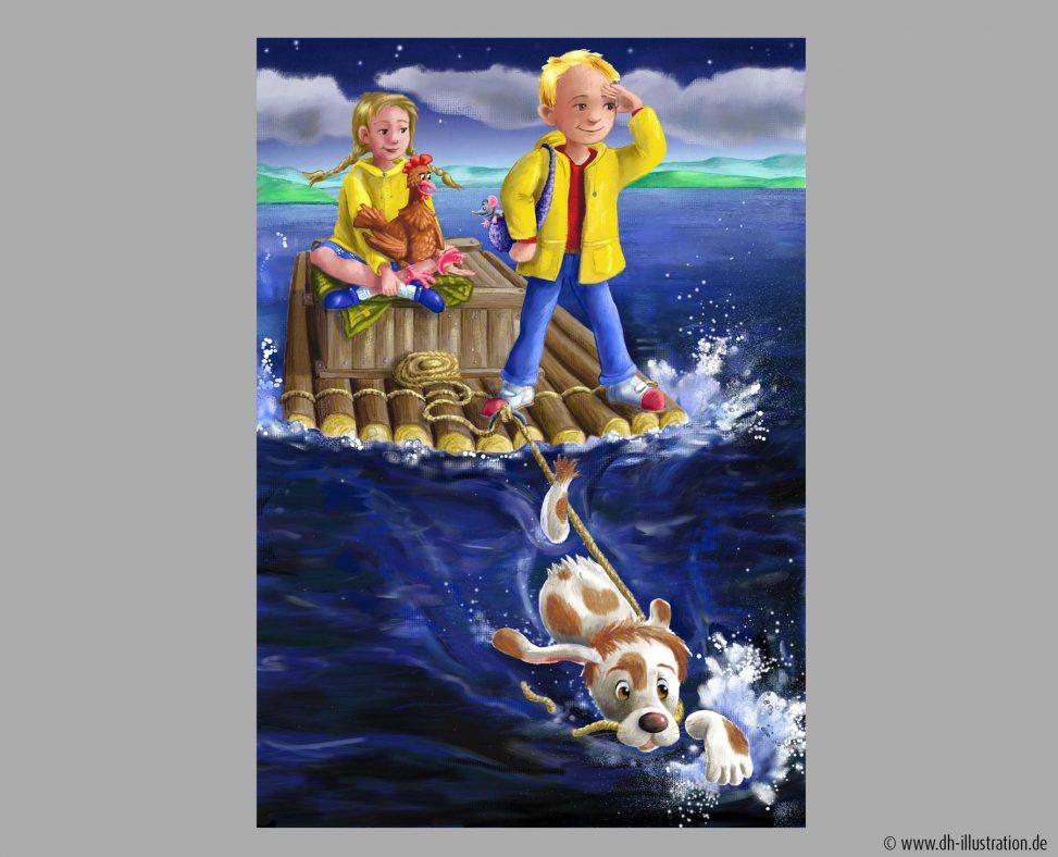 Kinder auf einem Floß