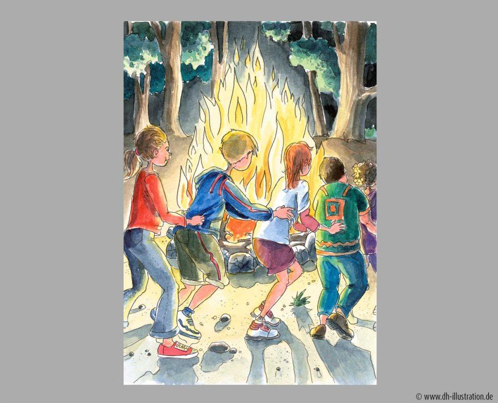 Kinder tanzen ums Feuer
