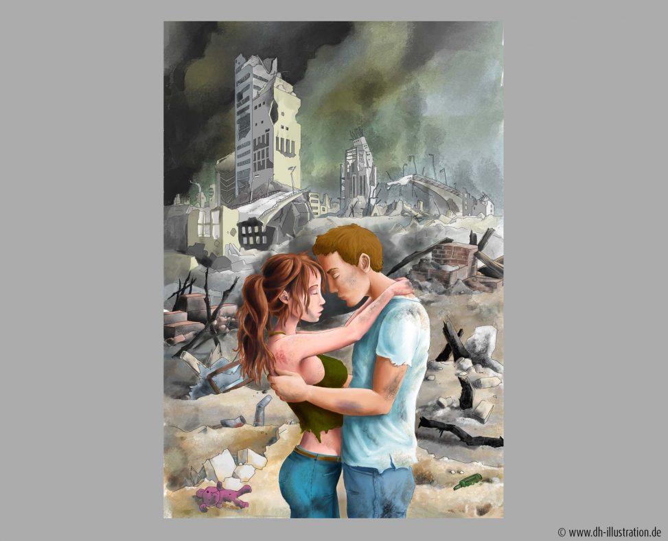 Paar vor Ruinen