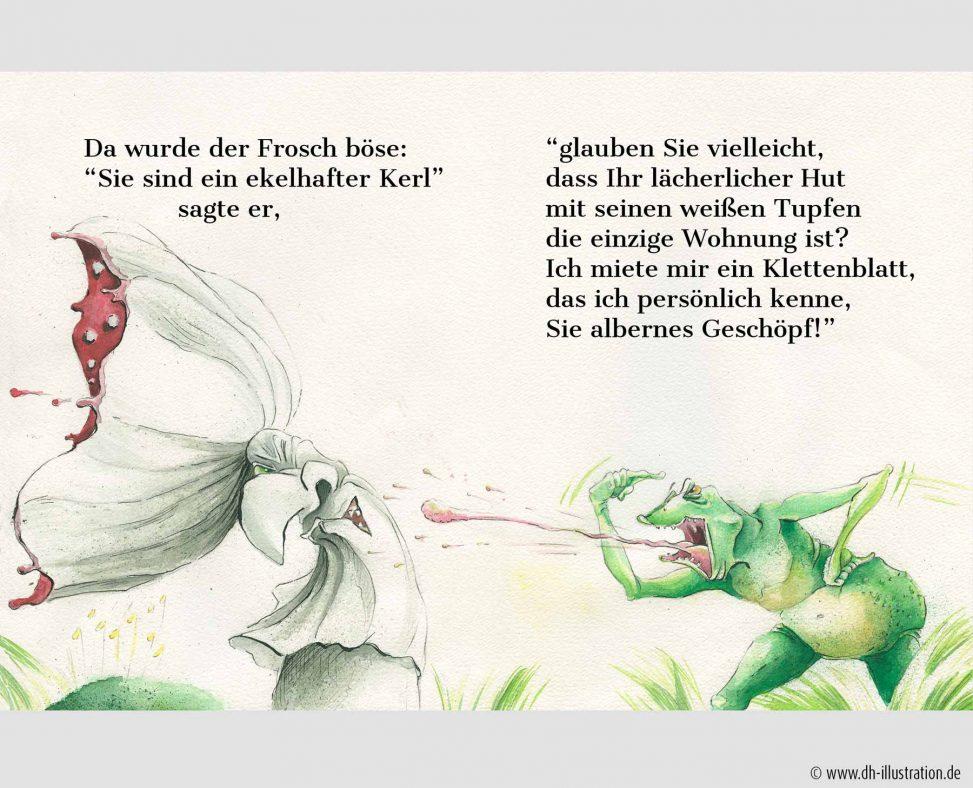 wütender Frosch und Pilz