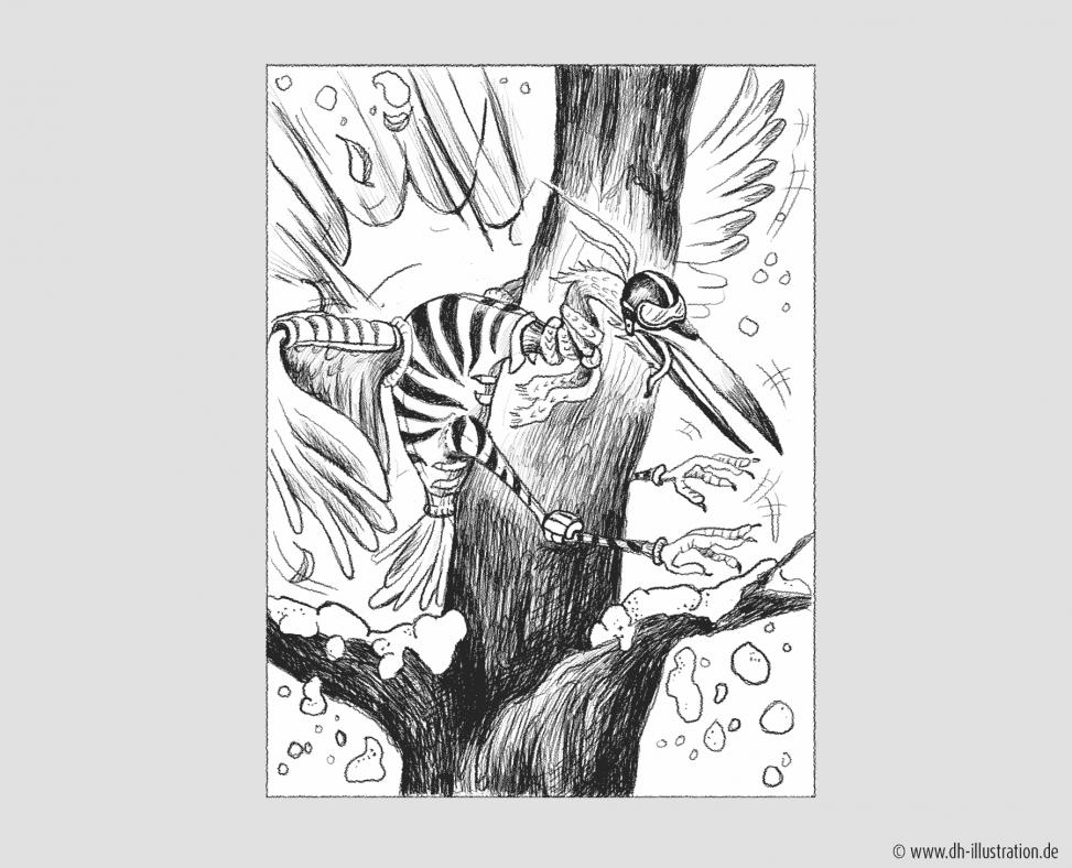 Reiher fliegt an Baum