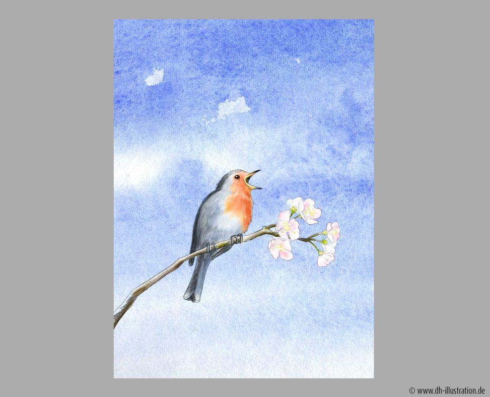 Vogel auf Kirschzweig