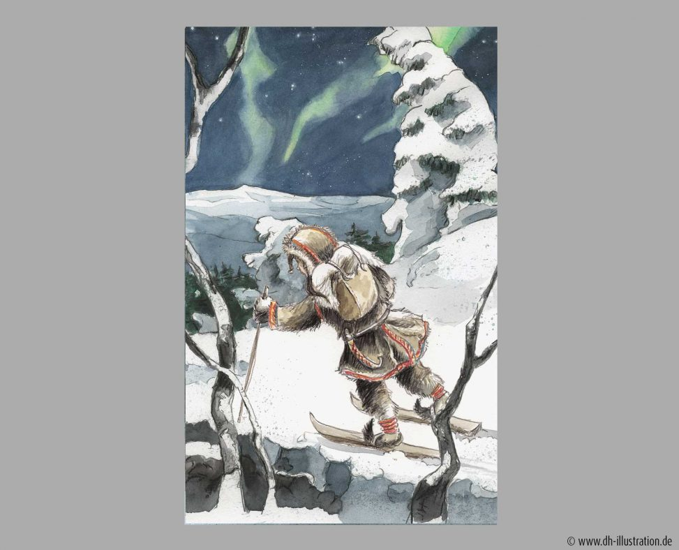 Samimädchen Skilaufen Nordlicht