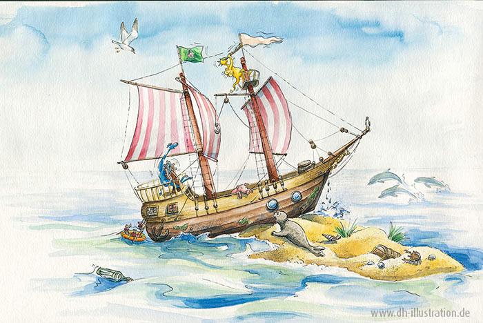 Schiff auf der Duene
