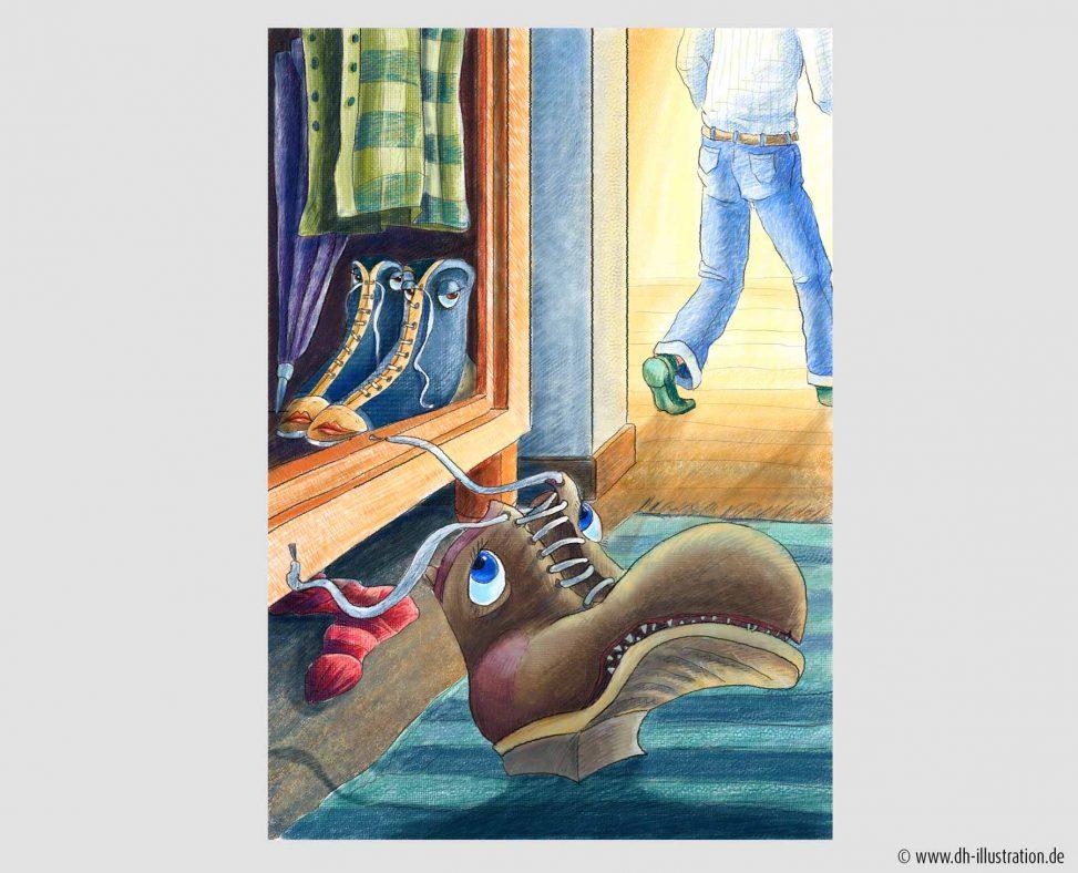 Schuh allein unterwegs