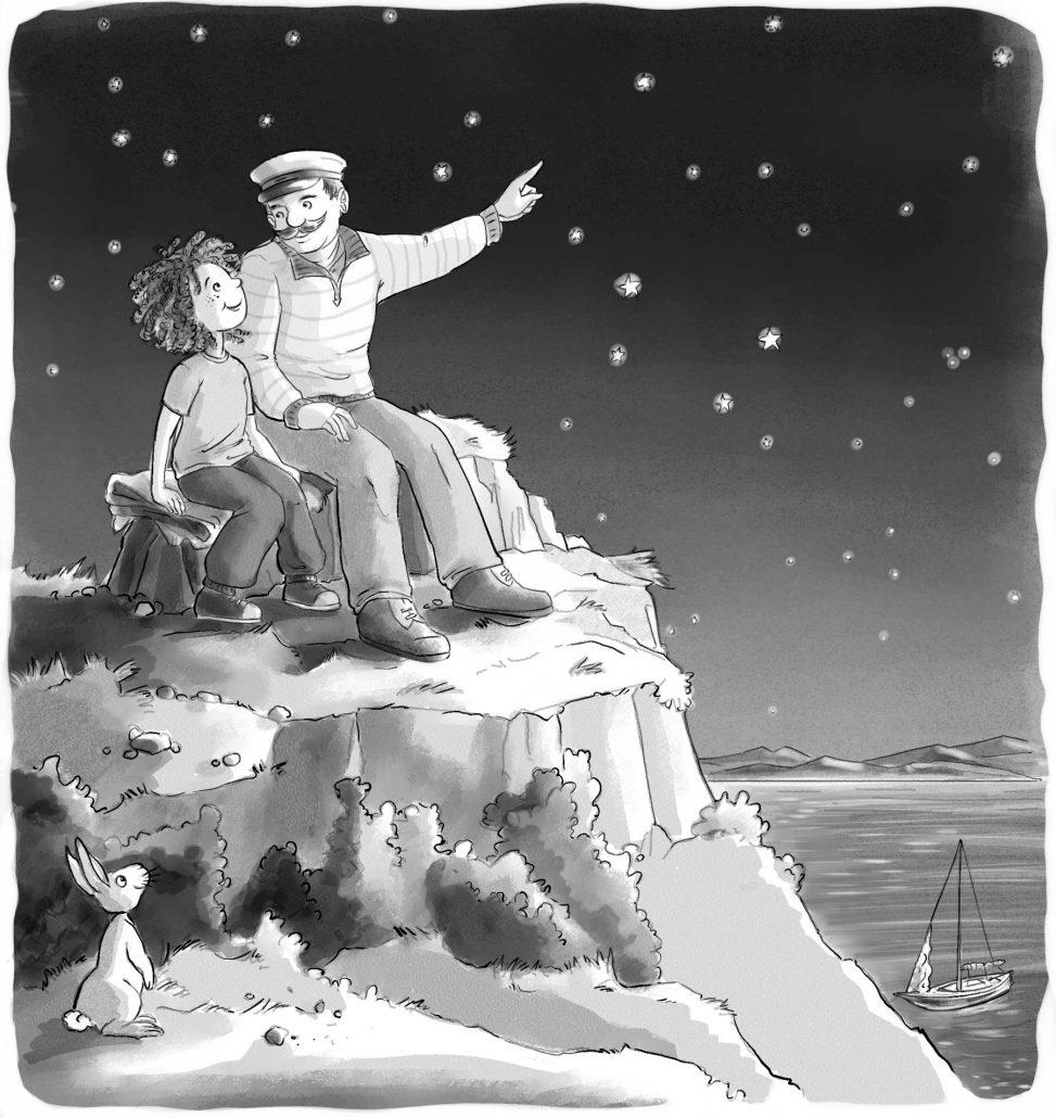 Kapitän und Junge gucken Sterne