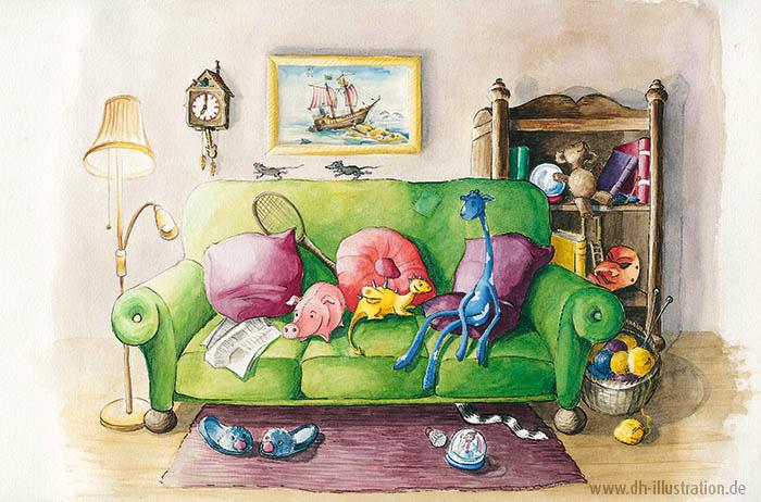 Stofftiere auf dem Sofa