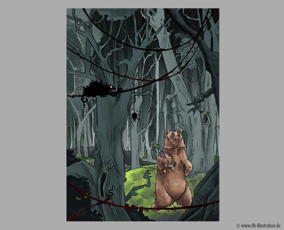 Unheimlicher Wald und Baer