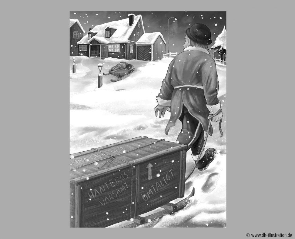 Mann zieht Kiste im Schnee