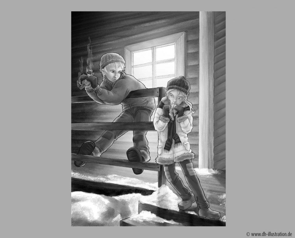 Kinder vor Hütte im Winter