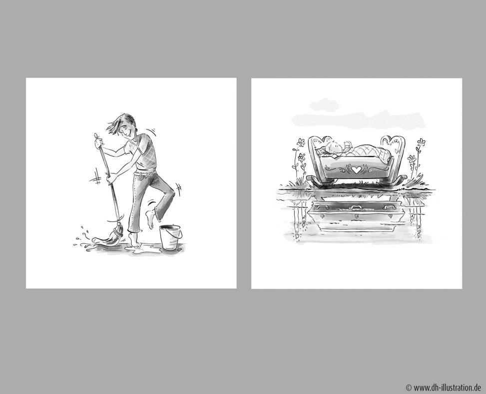 Zeichnung Hausarbeit, Sarg