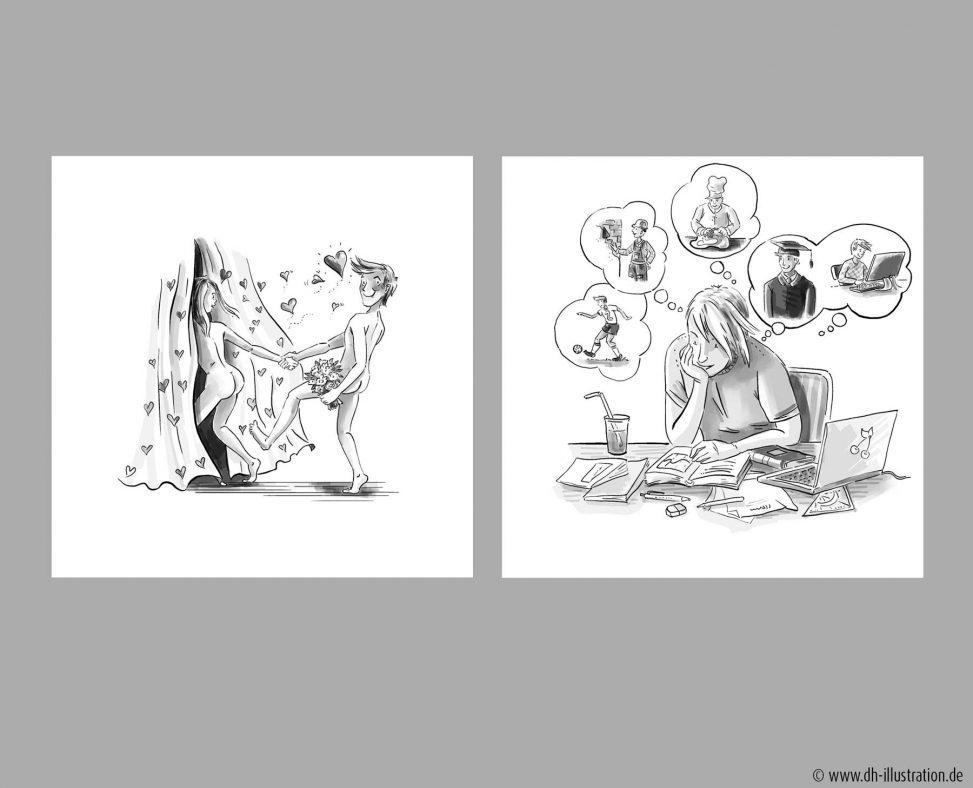 Karikatur Liebe, Lernen