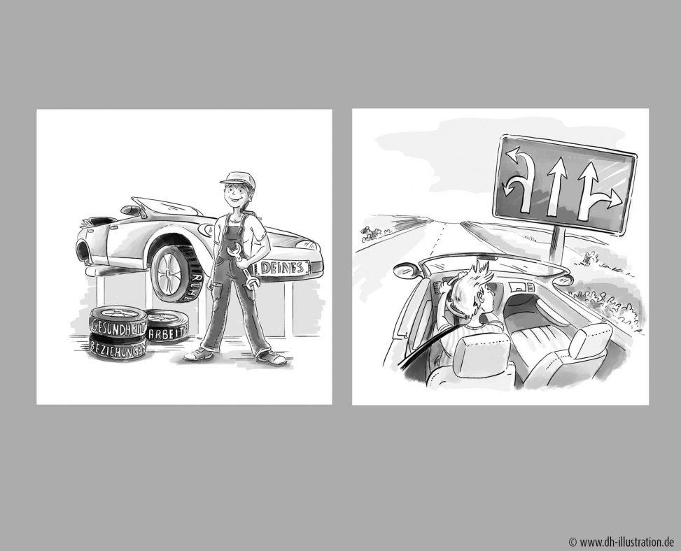 zeichnung Werkstatt, Autobahn