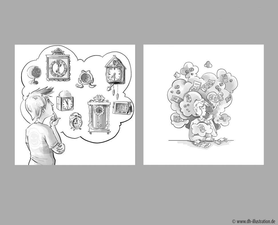Zeichnung Uhren, Rauchen